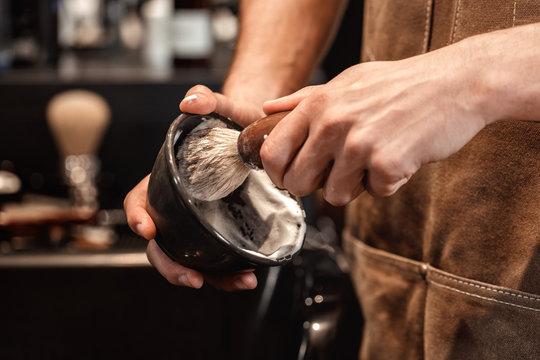 brush for shaving beard and bowl.