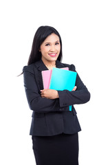 Beautiful asian woman in black suit holding notebook and smiles over white background
