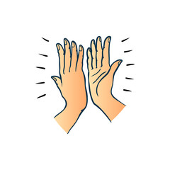 Hand gesture of two people giving each other high five in sketch style isolated on white background - colorful hand drawn vector illustration of hands palms joining together.