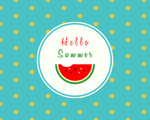 Hello summer design with a slice of watermelon with bite on sunny pattern