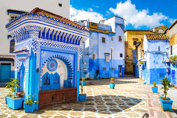 Fotorolgordijn Marokko Beautiful view of the square in the blue city of Chefchaouen. Location: Chefchaouen, Morocco, Africa. Artistic picture. Beauty world