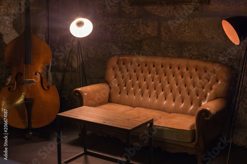 Modern jazz bar interior design leather sofa cello - Interior leather bar free online ...