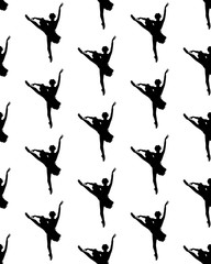 Black silhouettes of ballerina on white background, seamless pattern