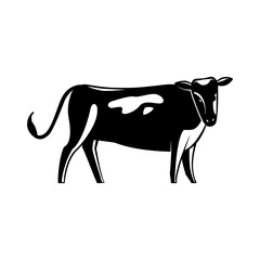 Monochrome spotted cow silhouette isolated on white background - cute standing farm cattle domestic animal, side view. Dairy livestock in colorful vector illustration.