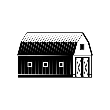 Farm barn black and white silhouette isolated on white background - wooden agricultural building for livestock or equipment. Vector illustration of ranch house exterior.