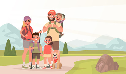 Happy family and hiking. Father, mother and children are traveling through the mountains. Trekking to nature