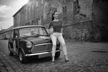 mini car cute girl posing