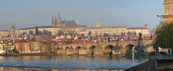 Panorama of the Charles Bridge in Prague.