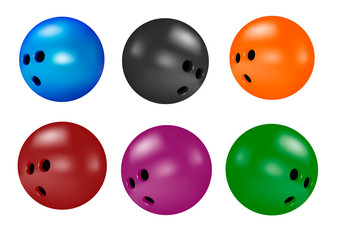 Bowling ball on white background.Vector illustration.