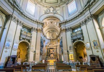 Santa Maria dei Miracoli Church in Piazza del Popolo, in Rome, Italy.