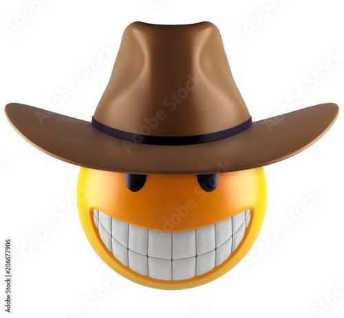 3d render of a cute smile emoji sphere with cowboy hat