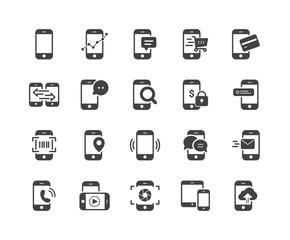Minimal Set of Mobile Phone Glyph Icons