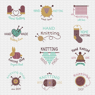 Knitting needles logo vector wool knitwear or knitted woolen socks logotype crocheting woolly materials and handknitting illustration isolated on white background