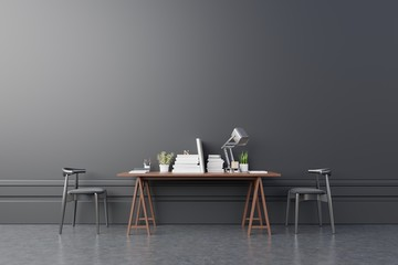 Modern interior working room with chair,plants,book,table on dark wall background. 3d rendering.