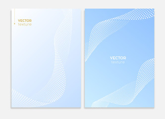 Business covers design. Abstract halftone dotted surface, brochure template. Vector graphic.