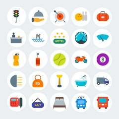 Modern Simple Set of transports, hotel, sports Vector flat Icons. Contains such Icons as  truck,  room,  car,  green,  cargo, bus and more on white cricle background. Fully Editable. Pixel Perfect.