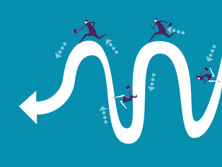 Business team running to arrow line. Vector illustration business concept. Cartoon character style.