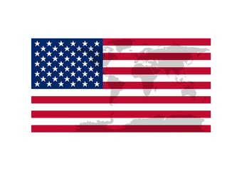 Flag of United States of America, USA with world map foreground. Vector EPS10