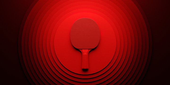 Table tennis or ping pong racket. tournament poster design on abstract color circles backgroung 3d illustration