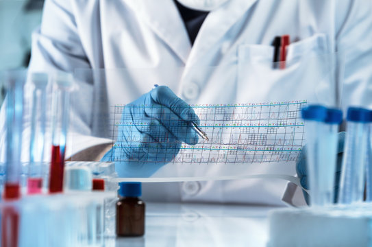 doctor analyzing DNA sequence results analysis graph / genetic engineering reading the structure chart with the results of the test