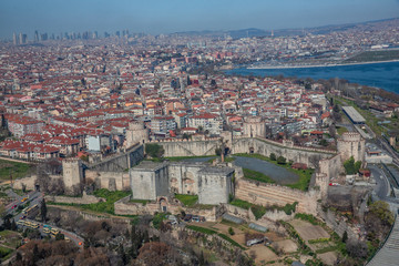 Aerial photo shooting from a helicopter. Yedikule Fortress wall in Istanbul, Turkey