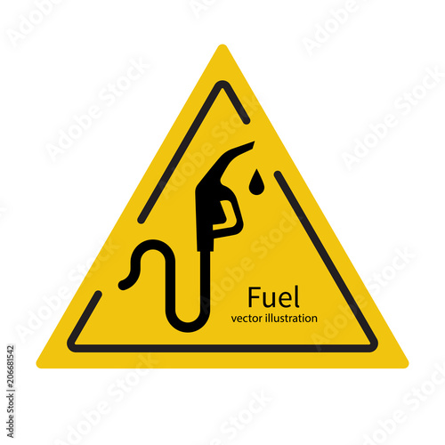 Fuel Pump Icon Triangular Yellow Sign Petrol Station Symbol Gas