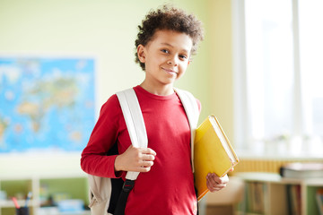 Little boy in casual red pullover looking at you with smile in classroom of elementary school
