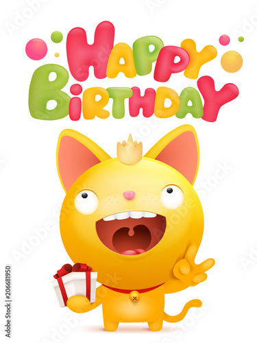 Happy Birthday Card Template With Yellow Emoji Cat Character