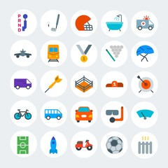 Modern Simple Set of transports, hotel, sports Vector flat Icons. Contains such Icons as  car,  scuba, seductive,  dart, bath,  home and more on white cricle background. Fully Editable. Pixel Perfect.