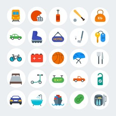 Modern Simple Set of transports, hotel, sports Vector flat Icons. Contains such Icons as  ring,  rugby,  urban, truck,  sport,  room and more on white cricle background. Fully Editable. Pixel Perfect.