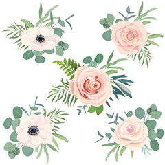 Floral bouquet set with rose, anemone and eucalyptus branch for wedding decoration, greeting card, birthday, Easter, invite. Vector hand drawn illustration. Watercolor style