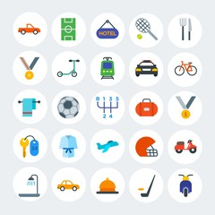 Modern Simple Set of transports, hotel, sports Vector flat Icons. Contains such Icons as bathroom,  pickup,  sedan,  football,  bath and more on white cricle background. Fully Editable. Pixel Perfect.