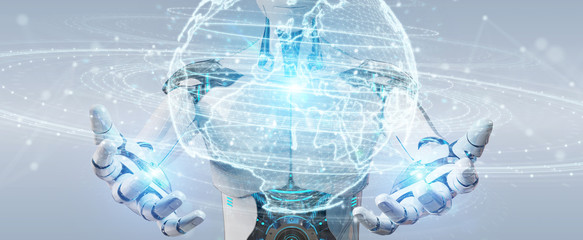 White humanoid using globe network hologram with Europe map 3D rendering