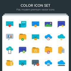 Modern Simple Set of cloud and networking, chat and messenger, folder, email Vector flat Icons. Contains such Icons as  email,  envelope and more on dark background. Fully Editable. Pixel Perfect