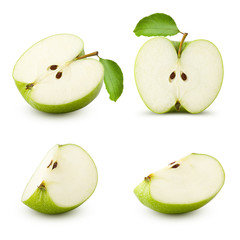 Green juicy apple slice isolated on white background, clipping path, full depth of field