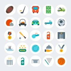 Modern Simple Set of transports, hotel, sports Vector flat Icons. Contains such Icons as  goal,  dinner,  cue,  house,  restaurant and more on white cricle background. Fully Editable. Pixel Perfect.