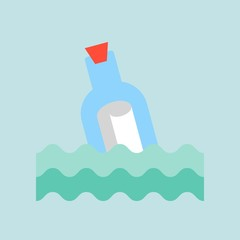 Message in a bottle, flat design vector