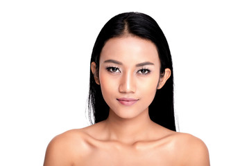 Young Asian woman with beautiful face and clear skin face close up studio