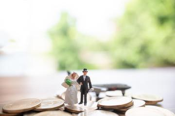 Miniature people wedding concept