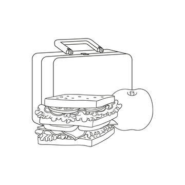 Plastic lunchbox with sandwich and apple for school or work break isolated on white background - black and white hand drawn vector illustration of lunch time food and package.