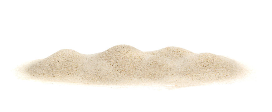 Pile of sand on white.