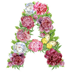 Letter A of watercolor flowers