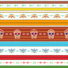 Seamless ethnic mexican fabric pattern with colorful stripes and Catrina`s skull on white. Repeat straight stripes texture background, vector. Day of the Dead holiday.