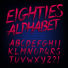 80s retro alphabet font. Uppercase hand drawn letters. Stock vector typeface for any typography design.