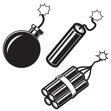 Illustration of comic style bomb, dynamite sticks. Design element for poster, card, banner, flyer.