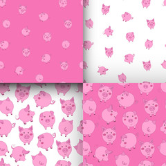 Set of seamless pink and white patterns with cute cartoon pigs.