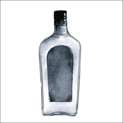A bottle of gin. Watercolor illustration isolated on white background