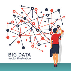 Big data concept. Businesswoman with briefcase standing about wall with diagram of data. Futuristic infographic. Network information. Modern digital technologies. Visualization research statistics.