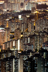 cityscape skyline at night in Hong Kong