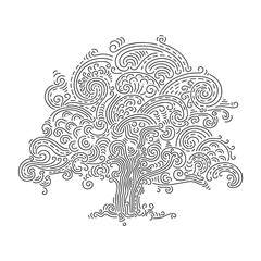 Oak tree, vector doodle. Hand drawn black and white illustration of a majestic tree.